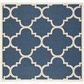 Safavieh Dhurrie Indoor/Outdoor Courtyard Navy/Beige Rug (6'7 Square)