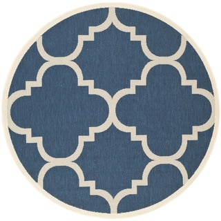 "Machine-Made Safavieh Indoor/Outdoor Courtyard Navy/Beige Rug (5'3"" Round)"