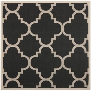 Safavieh Indoor/ Outdoor Courtyard Trellis-pattern Black/ Beige Rug (7'10'' Square)