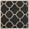 Safavieh Indoor/ Outdoor Courtyard Trellis-pattern Black/ Beige Rug (7'10'' Square)