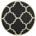Safavieh Indoor/ Outdoor Courtyard Black/ Beige Rug (6'7 Round)