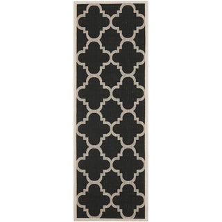 "Safavieh Indoor/Outdoor Courtyard Black/Beige Polypropylene Rug (2'2"" x 14')"