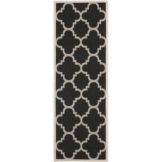 Safavieh Indoor/ Outdoor Courtyard Black/ Beige Runner Rug (2'3'' x 10')