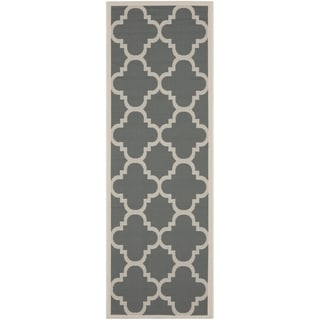 "Safavieh Indoor/Outdoor Geometric Courtyard Grey/Beige Rug (2'3"" x 10')"