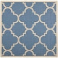 Safavieh Indoor/Outdoor Courtyard Blue/Beige Power-loomed Rug (7'10 Square)
