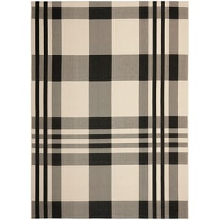 Safavieh Indoor/ Outdoor Courtyard Plaid Black/ Bone Rug (9' x 12')