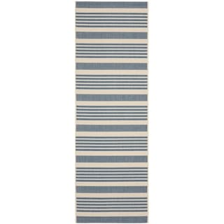 Safavieh Indoor/ Outdoor Courtyard Beige/ Blue Rug (2'3 x 8')