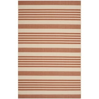 Safavieh Contemporary Indoor/ Outdoor Courtyard Terracotta/ Beige Rug (6'7 x 9'6)