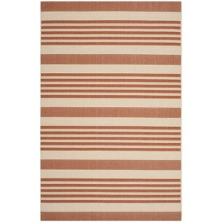 Safavieh Indoor/ Outdoor Courtyard Terracotta/ Beige Rug (4' x 5'7)