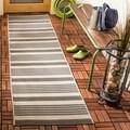 Safavieh Indoor/ Outdoor Courtyard Grey/ Bone Rug (2'3 x 8')