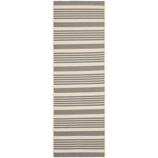 Safavieh Indoor/ Outdoor Courtyard Grey/ Bone Rug (2'3 x 10')