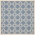 Safavieh Indoor/Outdoor Courtyard Blue/Beige Polypropylene Rug (7'10 Square)