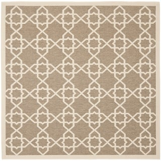 Safavieh Indoor/ Outdoor Courtyard Brown/ Beige Rug (7'10 Square)