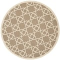 Safavieh Indoor/ Outdoor Courtyard Brown/ Beige Rug (7'10 Round)