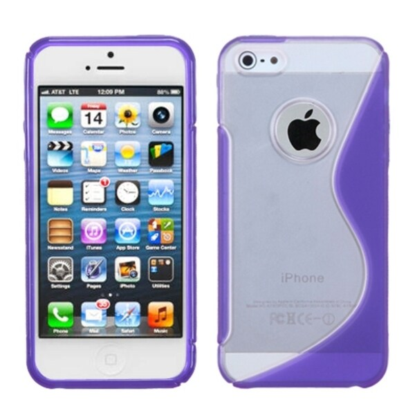 INSTEN Purple/ Clear S Shape TPU Flexi Skin Phone Case for Apple iPhone 5/ 5S/ SE