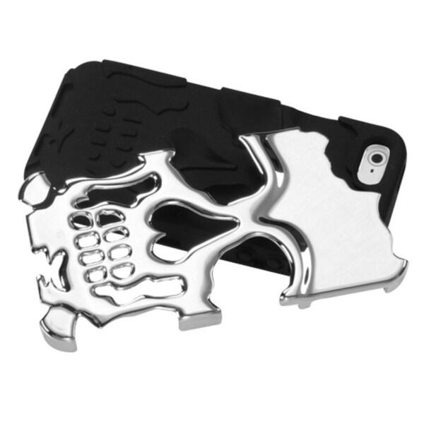 INSTEN Silver/ Black Skullcap Hybrid Phone Case Cover for Apple iPhone 5
