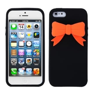 INSTEN Black Bow Soft Silicone Phone Case Cover for Apple iPhone 5