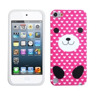 Insten Hot Pink/ White Dog Silicone Skin Gel Rubber Case Cover For Apple iPod Touch 5th/ 6th Gen