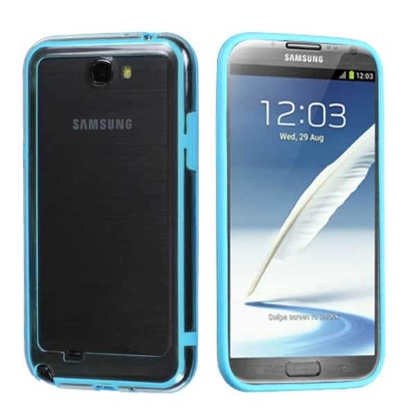 INSTEN Baby Blue/ Clear MyBumper Phone Case Cover for Samsung Galaxy Note II/ 2