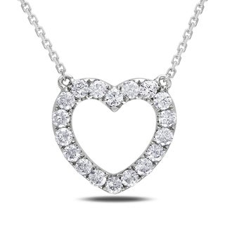 Miadora 14k White Gold 1/2ct TDW Diamond Necklace (G-H, SI1-SI2)