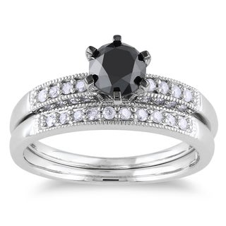 Miadora 10k White Gold 1 1/3ct TDW Black and White Diamond Bridal Ring Set (H-I, I2-I3)