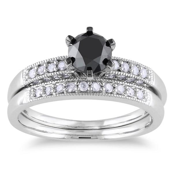 Miadora 10k White Gold 1 1 3ct TDW Black and White Diamond Bridal Ring Set H