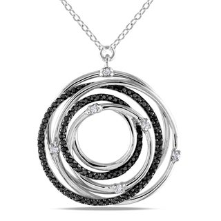 Miadora Silver 1/2ct TDW Black and White Diamond Necklace (H-I, I2-I3)