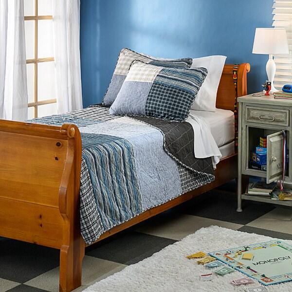 Brown Plaid Patchwork 3-piece Quilt Set