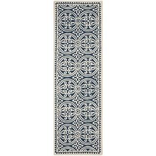 Safavieh Handmade Cambridge Moroccan Navy Blue/ Ivory Rug (2'6 x 20')