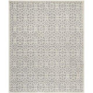 Safavieh Handmade Moroccan Cambridge Geometric Silver/Ivory Wool Rug (10' x 14')