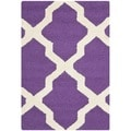 Safavieh Handmade Moroccan Cambridge Purple/ Ivory Wool Rug (2'6 x 4')