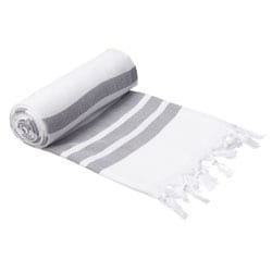 Authentic Pestemal Fouta Gray and White Bold Stripe Turkish Cotton Bath and Beach Towel
