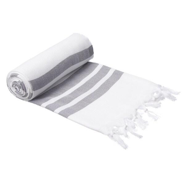 Authentic Pestemal Fouta Gray and White Bold Stripe Turkish Cotton Bath/ Beach Towel