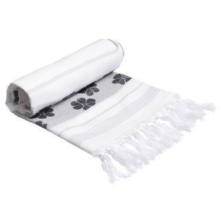 Authentic Pestemal Fouta Black and White Floral Jacquard Turkish Cotton Bath/ Beach Towel