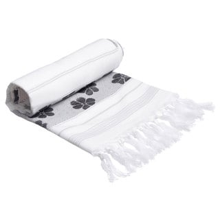 Authentic Pestemal Fouta Black and White Floral Jacquard Turkish Cotton Towel