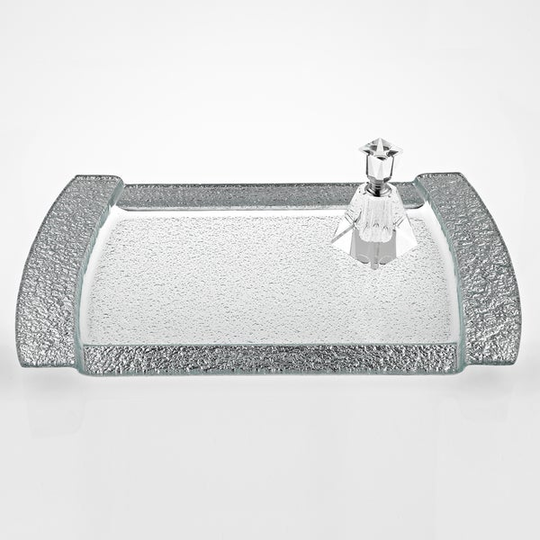 Rectangular Silver Leaf Decor Serving/ Vanity Tray