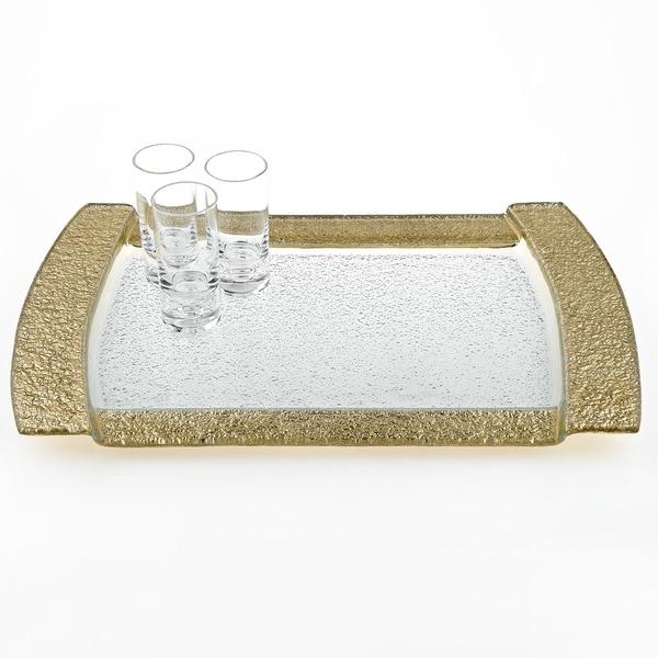 Rectangular Gold Leaf Decor Serving/ Vanity Tray