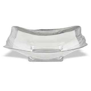 Square Authentic Silver Leaf Decor 16-inch Glass Serving Bowl