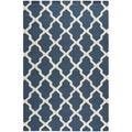 Safavieh Handmade Moroccan Cambridge Navy Blue/ Ivory Wool Rug (10' x 14')