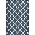 Safavieh Handmade Moroccan Cambridge Navy Blue/ Ivory Wool Rug (10' x 14')