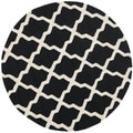 Safavieh Handmade Moroccan Cambridge Black/ Ivory Wool Rug (4' Round)