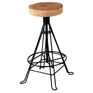Duncan Black Iron Leather Cushion Barstool (India)