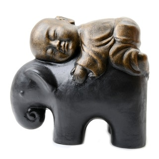 Sleeping Monk on Elephant Statue (Indonesia)