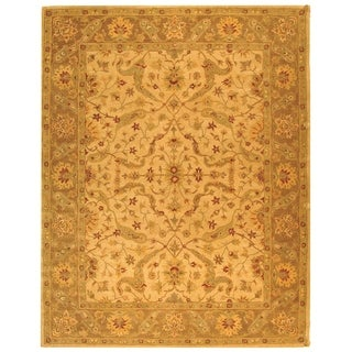 Safavieh Hand-made Antiquity Ivory/ Brown Wool Rug (11' x 15')