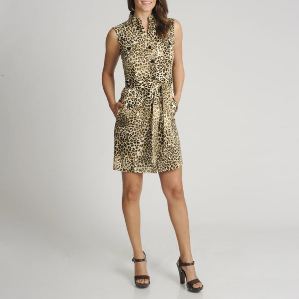 Lennie for Nina Leonard Women's Animal Printed Shirt Dress