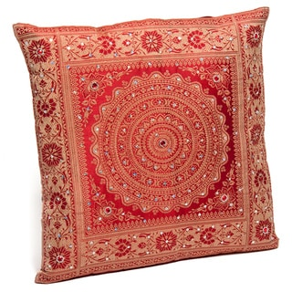 Red Banarasi Cushion Cover with Woven Mandala and Embroidered Sequins (India)