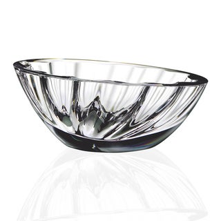 Lead-Free Clear Crystal Oval Mouth-Blown Pedestal Bowl