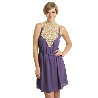 Stanzino Women's Purple Lace-neckline Mini Dress