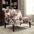 Brown Cow Hide Fabric 2-seater Accent Loveseat