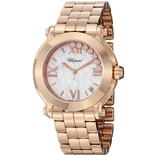 Chopard Women's 'Happy SportRound' Rose Gold Bracelet Quartz Watch